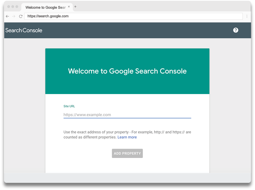 Google Search Console welcome sign up