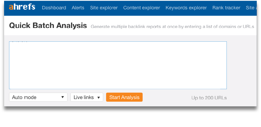 Ahrefs Quick Batch Analysis for competitive link building research