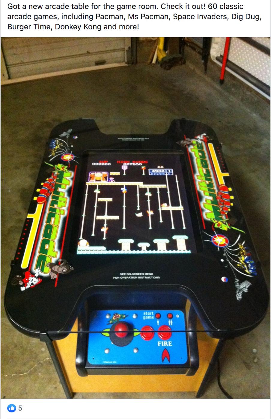 Sonoma Square Cottage arcade game addition Facebook post