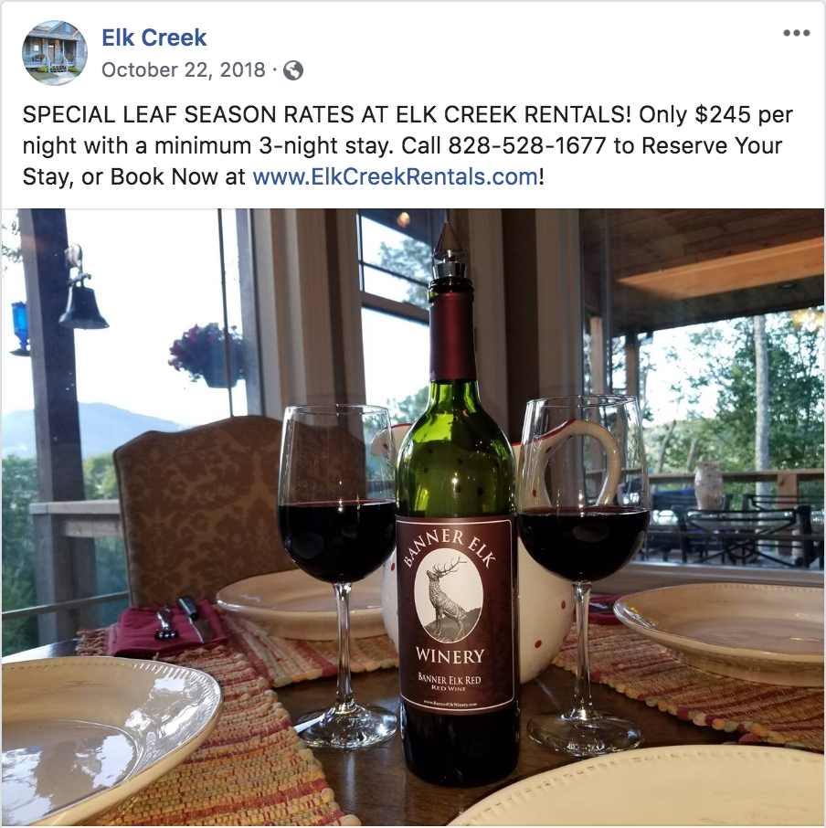 Elk Creek Facebook Post - Special Deal