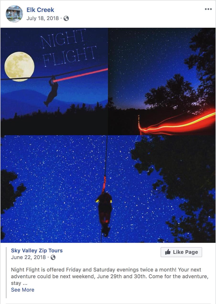 Elk Creek Facebook Post - Sky Valley Zip Tours