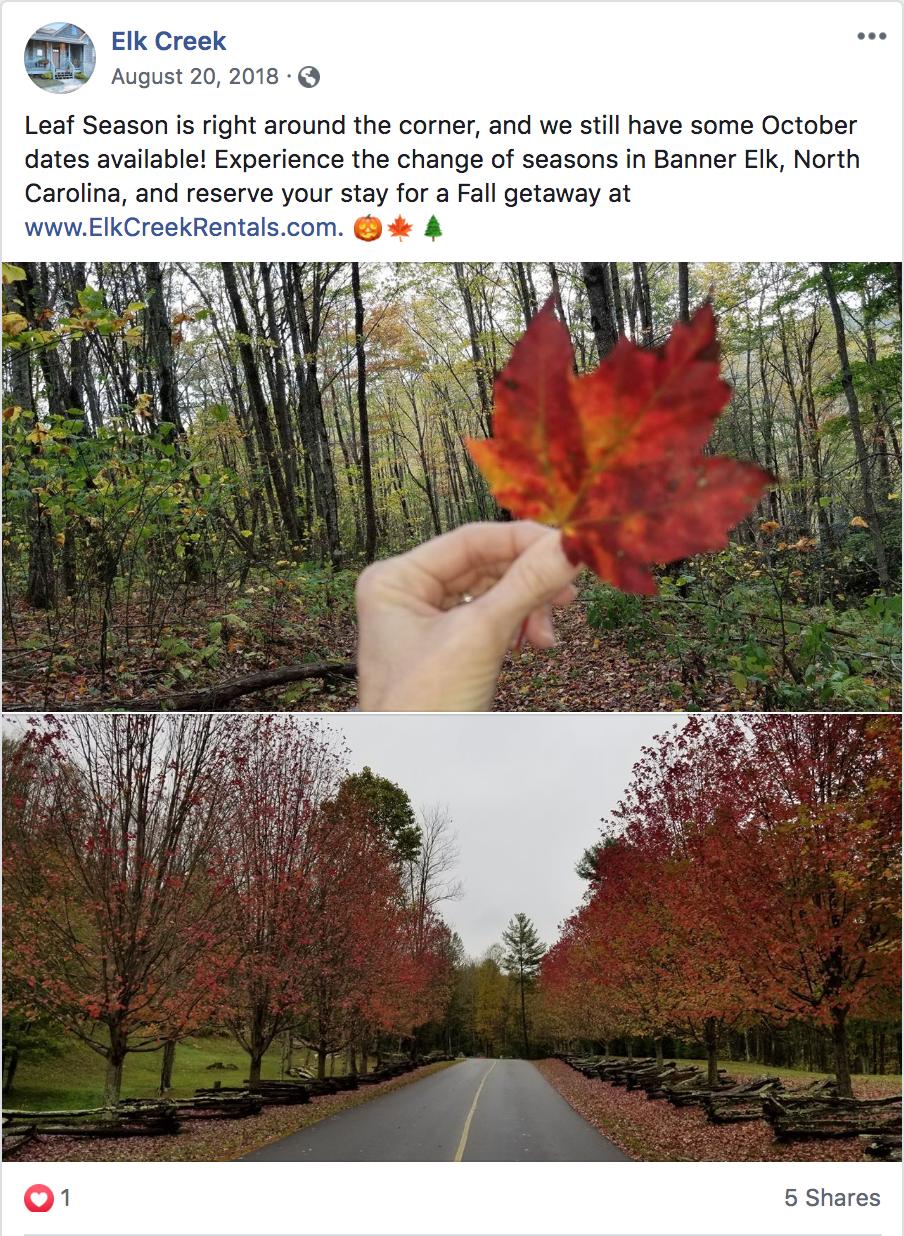 Elk Creek seasonal Facebook post
