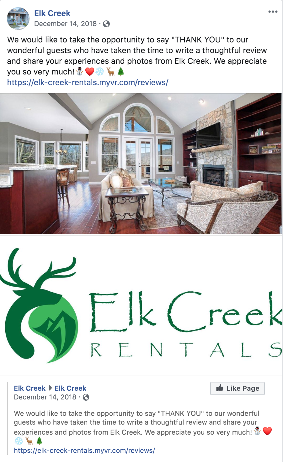 Elk Creek thank you guests Facebook post